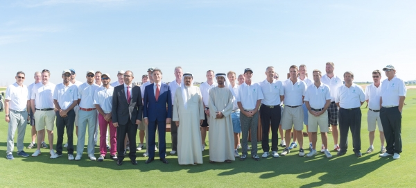 Sheikh Humaid with golfers at AZGC opening.jpg